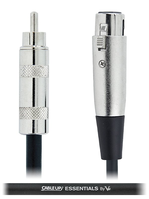 Cable Up by Vu XF3-RM-ES-10 10 ft XLR Female to RCA Male Unbalanced Cable with Silver Contacts XF3-RM-ES-10