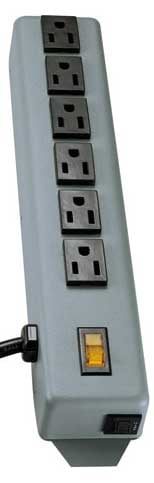 Power Strip, 6 Outlets, 6`Cord