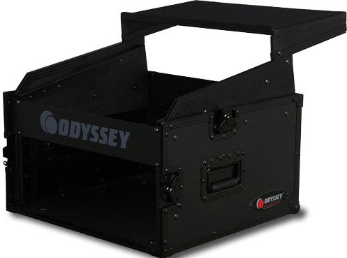 Odyssey FRGS804BL  Black Label Series Flight Ready Glide-Style Combo Rack Case: 8RU Top, 4RU Bottom FRGS804BL