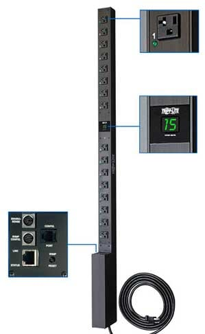 Power Distribution Unit, Digital Current Monitoring, 120V 15A
