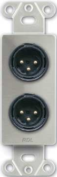 Dual Solder-Type 3-Pin XLR-M Jacks on Decora Wall Plate