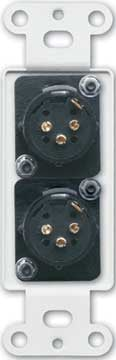 Dual Solder-Type 3-Pin XLR-M Jacks on Decora Wall Plate