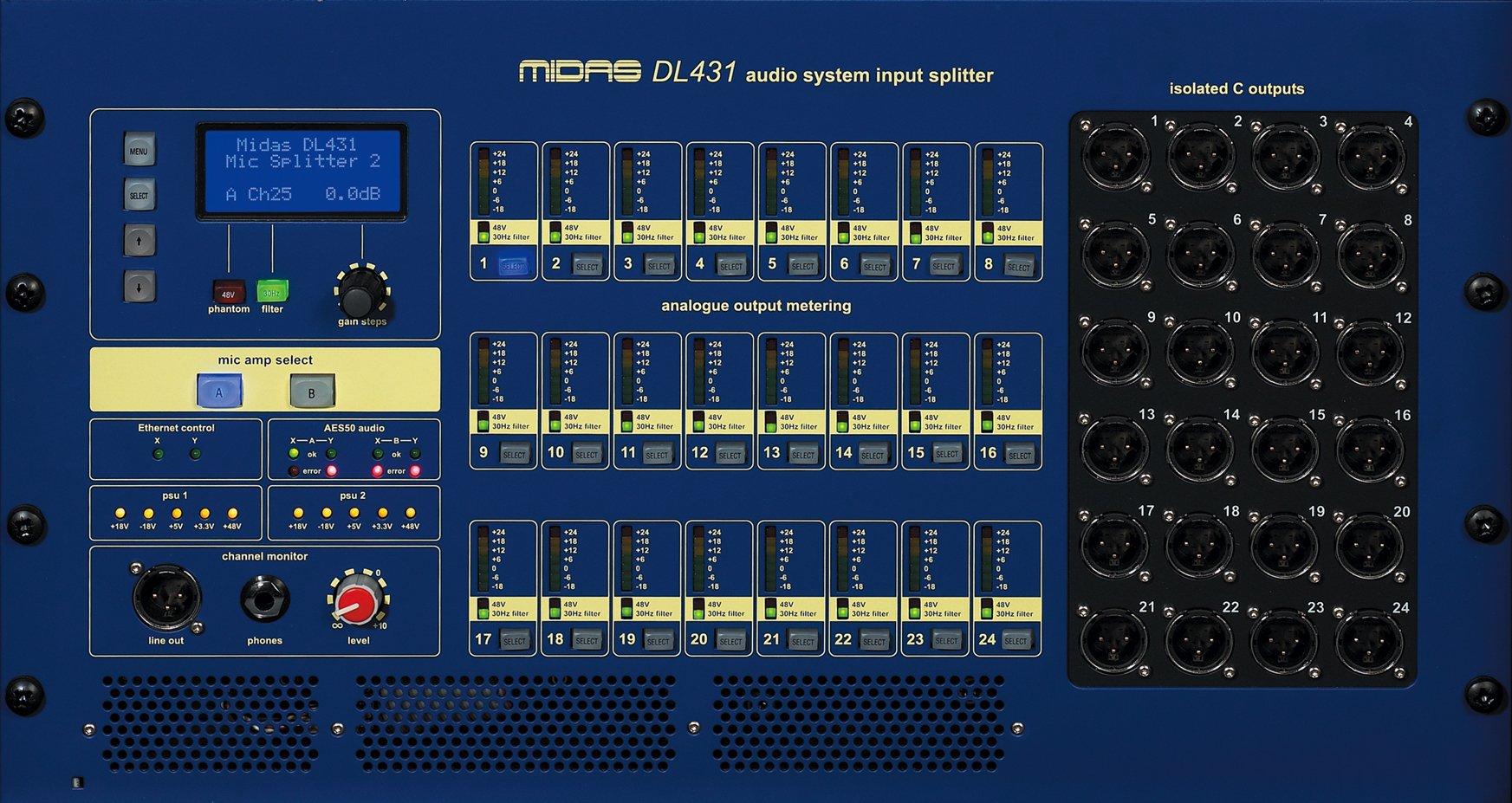 6RU 5-Way Fixed Input Splitter & I/O Box with 24 Mic/Line Ins