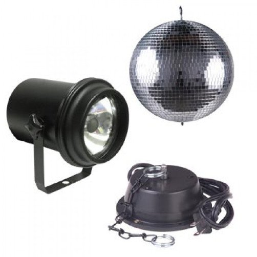 Adj m 600l 16 inch mirror ball with pinspot and motor for Dmx mirror ball motor