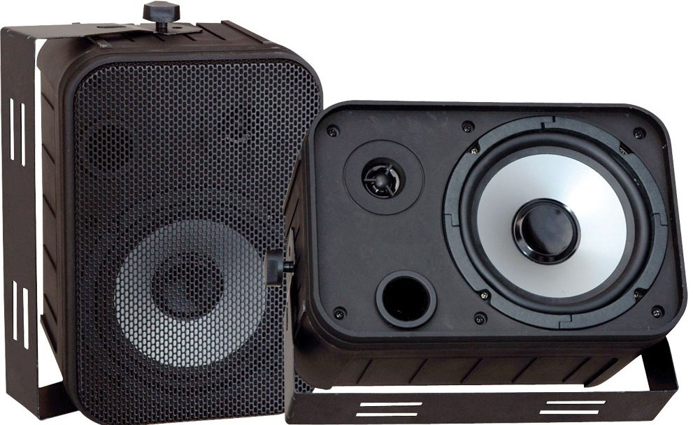 "6.5"" Indoor/Outdoor Black Waterproof Speaker"