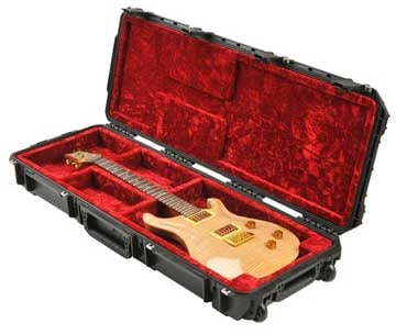Hardshell Molded Open Cavity Electric Guitar Case with TSA Latches and Wheels