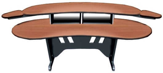 "84"" Edit Center Series Desk with Overbridge with Two 4RU Rackbays, One 1RU Single-Bay Outboard Rack, Dark Cherry Finish"