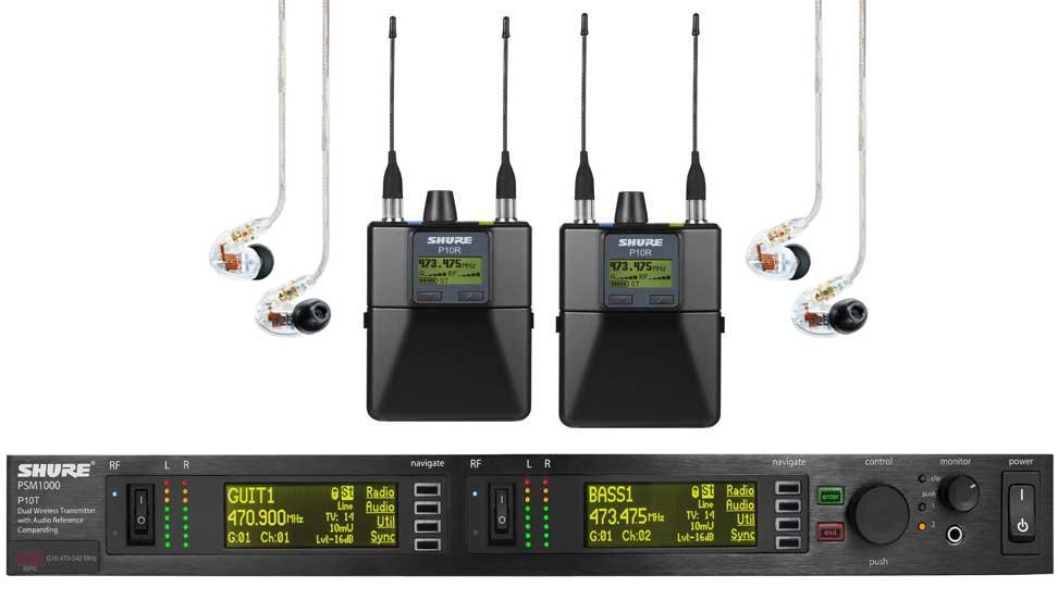 In-Ear Wireless System, w/P10T dual-channel transmitter, 2 P10R bodypacks, and 2 SE425CL earbuds