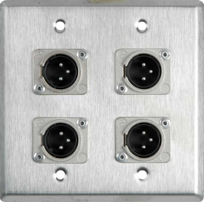 Wall Plate: 2 gang, 4 XLR 3-pin (M)