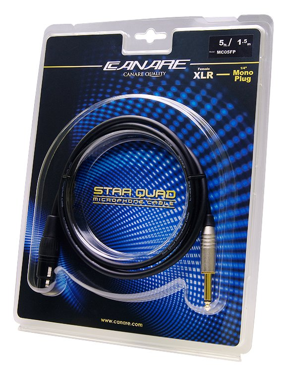 "5 ft XLR Female Starquad to 1/4"" TS Mono Male Cable"