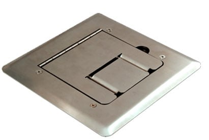 Self-Trimming Stainless Steel Floor Box with Cable Door