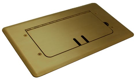 Brass Self-Trimming Steel Floor Box with Cable Slots, WITHOUT Inserts