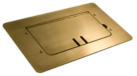 Brass Flat-Trimming Steel Floor Box with Cable Slots, WITHOUT Inserts