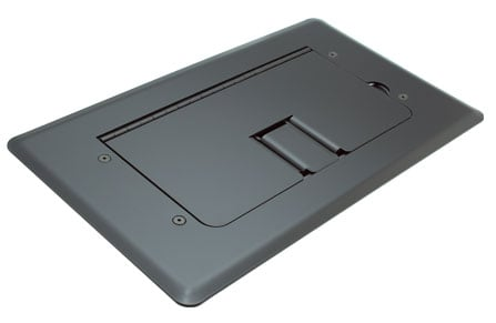 Black Self-Trimming Steel Floor Box with Cable Door, WITHOUT Inserts