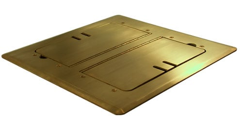 Satin Brass Self-Trimming Floor Box with Cable Slots
