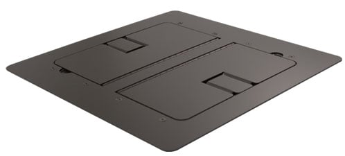 Black Flat-Trimming Floor Box with Cable Slots