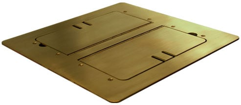 Satin Brass Flat-Trimming Floor Box with Cable Slots