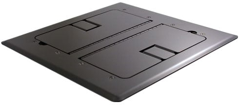 Black Self-Trimming Floor Box with Cable Doors