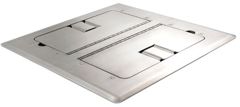 Stainless Steel Self-Trimming Floor Box with Cable Doors