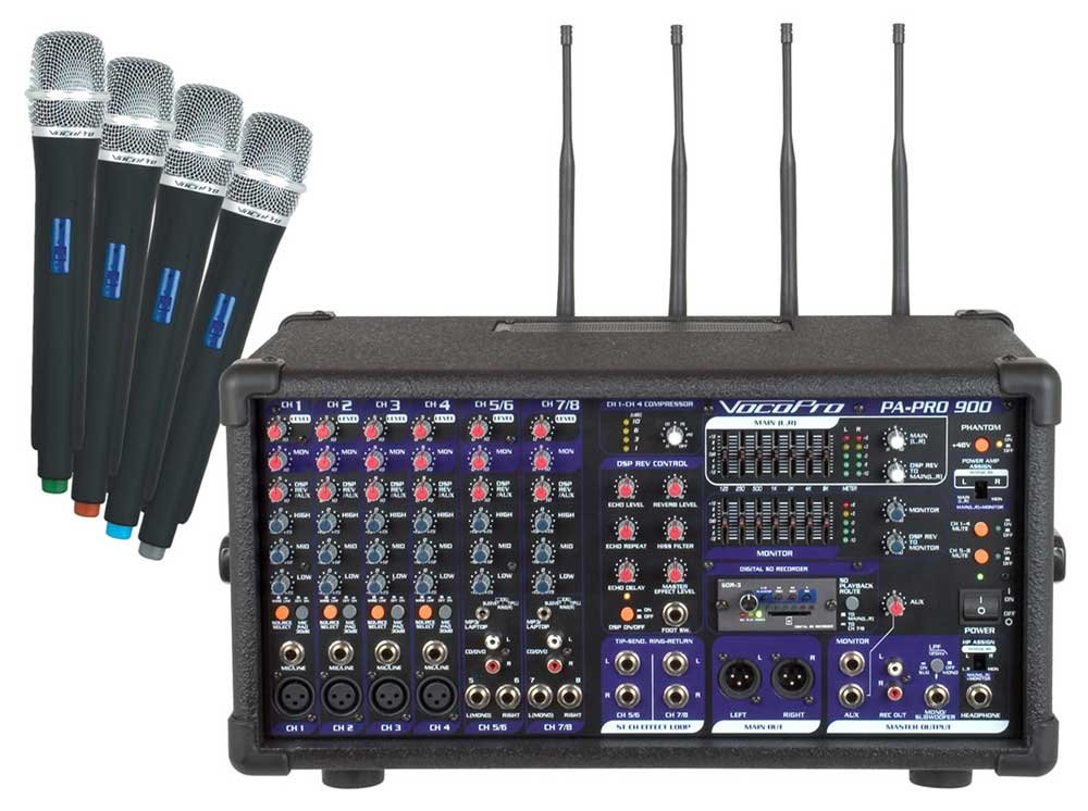 PA Mixer, 4 Mics, SDR-3, 900W