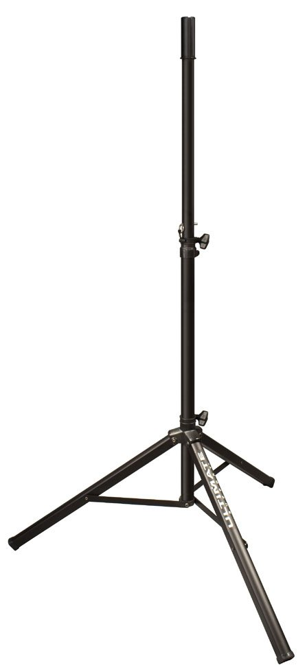 Aluminum Tripod Speaker Stand in Black with Safe/Secure Locking Pin and 150 lb Load Capacity