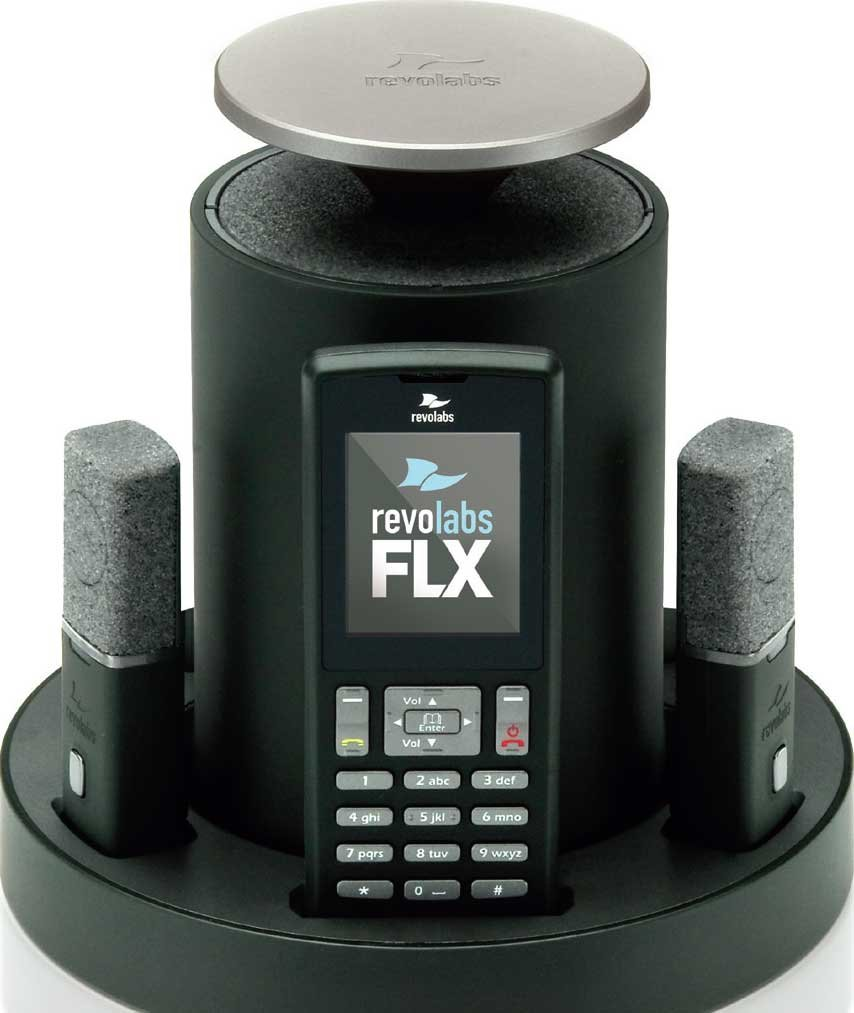 Revolabs 10-FLX2-101-POTS FLX2 Conference Mic System with 1 Wearable Mic, 1 Omni Tabletop Mic, Analog Phone 10-FLX2-101-POTS
