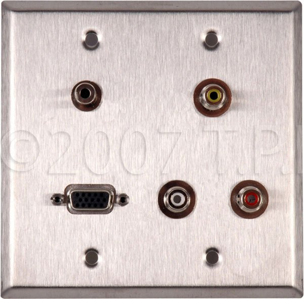 Wall Plate, 2 Gang with with (3) PF-PFCM RCA Feed-Thru Connectors, (1) HD15 Feed-Thru Connector & (1) 3.5 Mini Feed Thru Connector