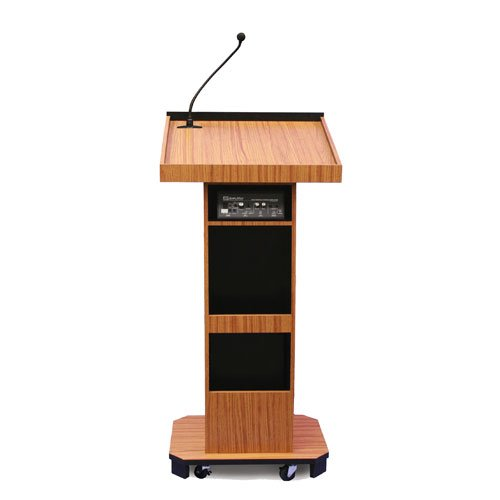 Wireless Executive Sound Column Lectern with Lapel Microphone Transmitter