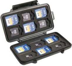 Black Memory Card Case for up to 12 SD, 6 Mini SD, & 6 Micro SD Cards
