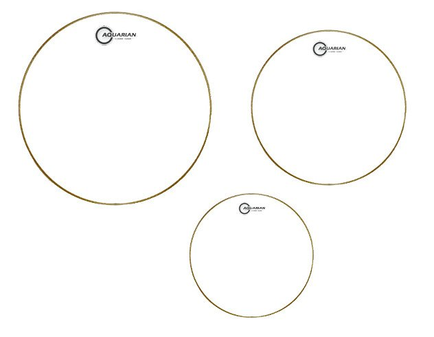 "3-Pack of Classic Clear Tom Tom Drumheads: 10"",12"",16"""