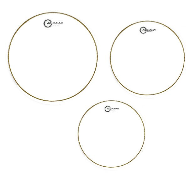 "3-Pack of Response 2 Clear Tom Tom Drumheads: 10"",12"",16"""