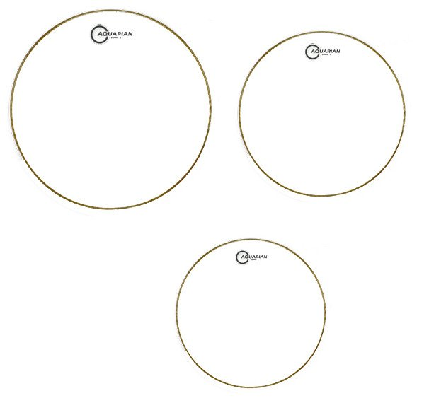 "Aquarian Drumheads S2-C 3-Pack of Super-2 Tom Tom Drumheads in Clear: 10"",12"",16"" S2C-AQUARIAN"
