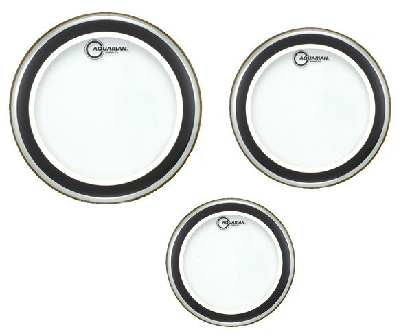 "3-Pack of Studio-X Tom Tom Drumheads in Clear: 10"",12"",16"""