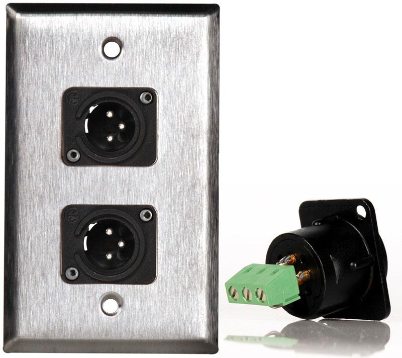 1G Black Anodized Wallplate w/Two-3-Pin XLR-M-Terminal Blocks