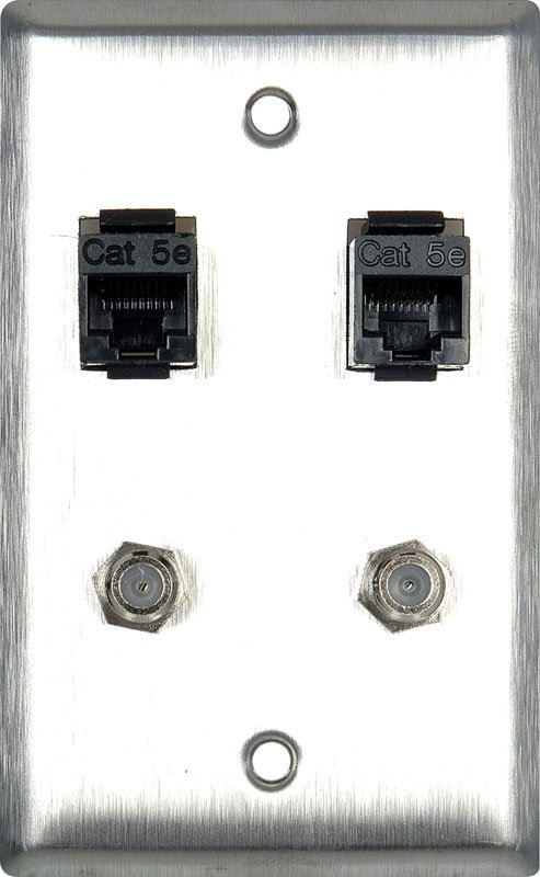 1G Stainless Steel Wall Plate With 2- RJ45 Barrels & 2- F Coax Barrels