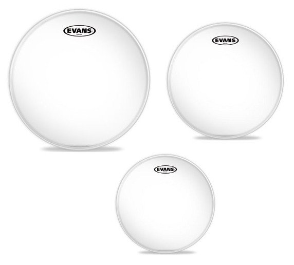 "3-Pack of Hydraulic Glass Fusion Tom Tom Drumheads: 10"",12"",14"""