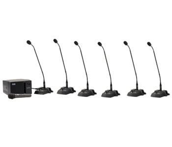 Anchor CM-6W CouncilMAN Conference System with Wireless Receiver, 1 Chairman Microphone, 5 Delegate Microphones and 1 Wireless Handheld Microphone CM-6W