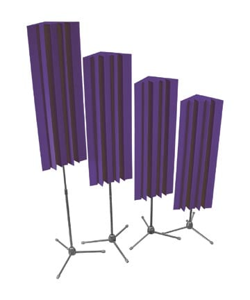 4 Pack of 4' LENRD Stand-Mount Bass Traps in Burgundy