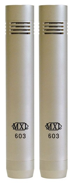 Stereo Pair of MXL 603 Cardioid Small Diaphragm Condenser Microphones with Shockmounts and Carrying Case
