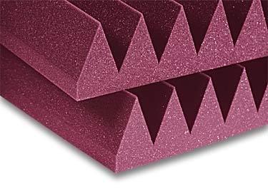 "2' x 2' x 4"" StudioFoam Burgundy Acoustic Panel Wedge"