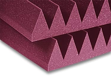 "Acoustic Panel, 4"", Wedge, StudioFoam,  2' x 2', Charcoal (Burgundy shown)"
