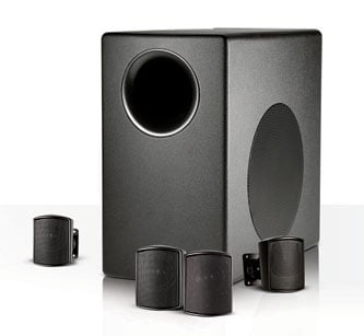 Surface-Mount Subwoofer and Satellite Loudspeaker System in Black
