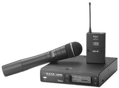 Encrypted BP Wireless System with Bodypack Transmitter and Lavalier Mic, A-band (Handheld mic shown NOT INCLUDED)