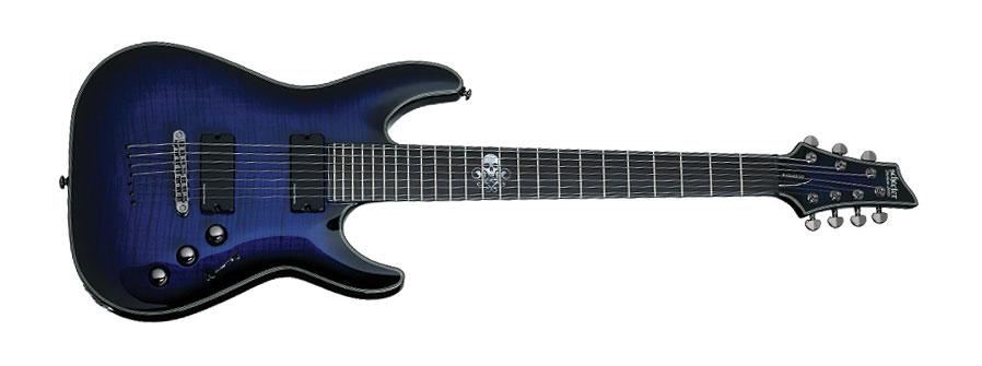 Blackjack 7string Electric Guitar, Blue Burst
