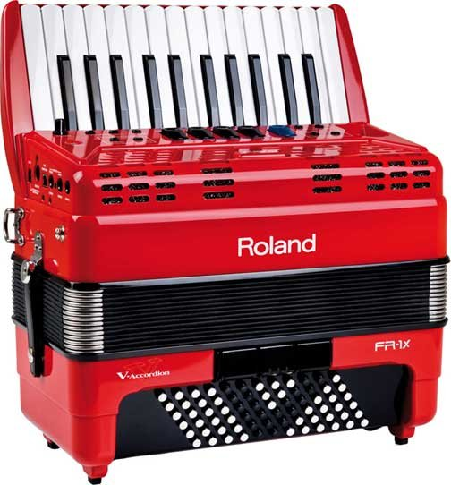 Piano-Type Digital Accordion in Red with Speaker