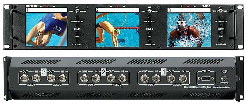 """Triple 4"""" Rack Mounted LCD Panel with 2 Composite Video inputs per Screen, Tally, Loop through and Auto NTSC/PAL Detection"""