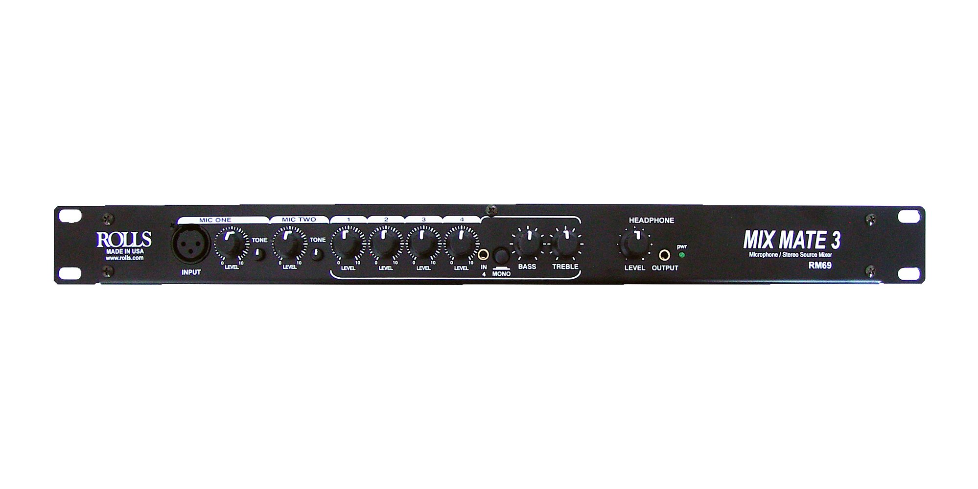 6-Channel Single-Space Rackmount Audio Mixer