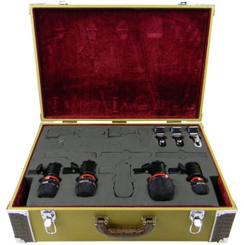 Drum Mic Kit With 4 Microphones And Tweed Case
