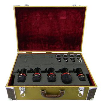 Drum Microphone Kit, 5 Mics, Tweed Case