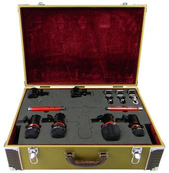 Drum Mic Kit, 6 Mics, Tweed Case